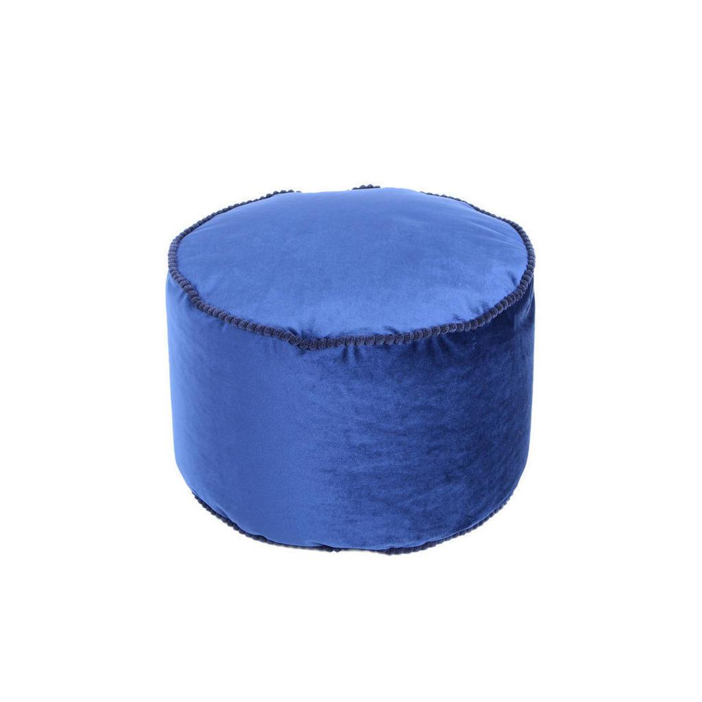 Pouf , Blau , Textil , Füllung: recyceltes Polystyrol (Eps) , 47x32x47 cm , Reißverschluss , Wohnzimmer, Hocker, Poufs