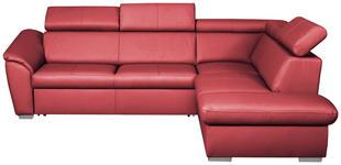 WOHNLANDSCHAFT in Leder Rot - Rot/Silberfarben, Design, Leder/Metall (260/88/210cm) - Cantus