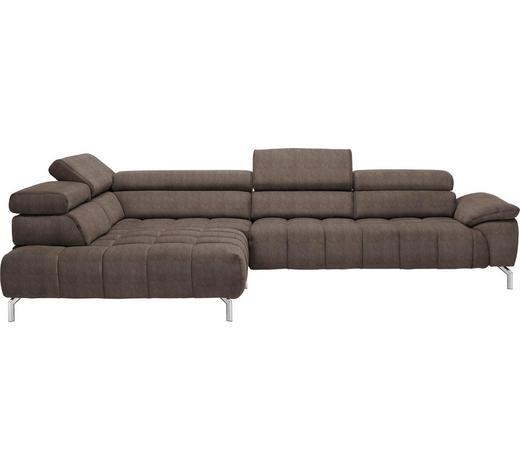 WOHNLANDSCHAFT in Textil Braun - Chromfarben/Braun, Design, Textil/Metall (222/323cm) - Beldomo Style