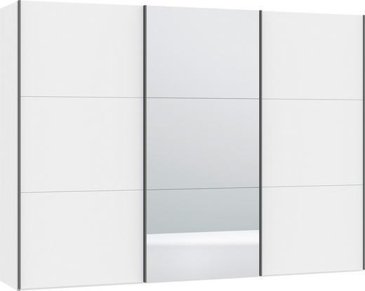SCHWEBETÜRENSCHRANK 3-türig Weiß - Silberfarben/Weiß, Design, Glas/Metall (303,1/220/46cm) - Jutzler