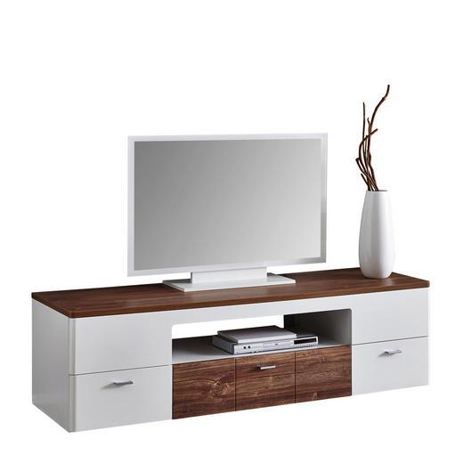 LOWBOARD Hochglanz, Melamin Eichefarben, Weiß - Eichefarben/Alufarben, Design, Metall (180/50/55cm) - Xora