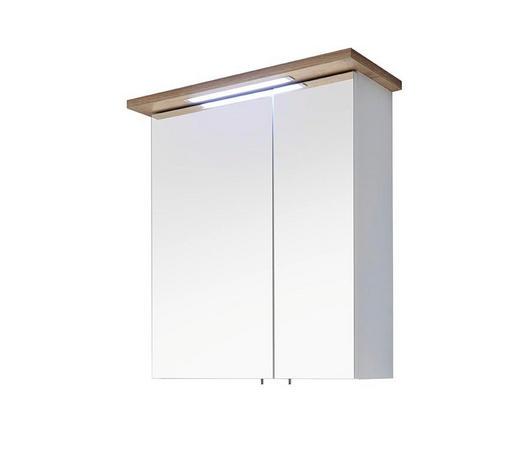SPIEGELSCHRANK Weiß, Eichefarben  - Eichefarben/Weiß, Design, Glas/Holzwerkstoff (60,0/72,0/20,0cm) - Xora