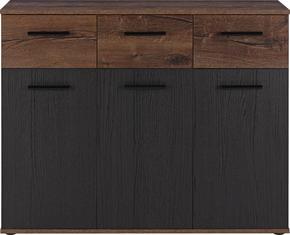 SIDEBOARD - gråbrun/svart, Design, metall/träbaserade material (104,6/82,8/34,9cm)