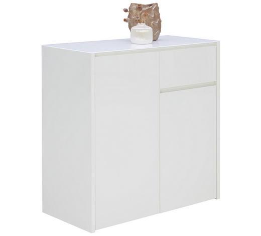 KOMODA, bílá - bílá, Design, kompozitní dřevo/sklo (84,2/85,2/40cm) - Voleo