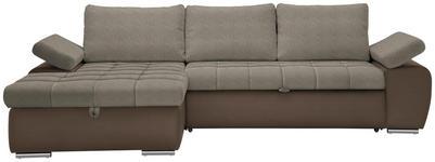 WOHNLANDSCHAFT in Textil Braun, Hellbraun  - Hellbraun/Braun, Design, Kunststoff/Textil (175/271cm) - Xora