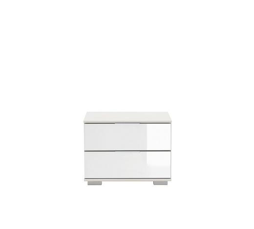 NACHTKÄSTCHEN Weiß 52/40/38 cm - Chromfarben/Alufarben, Design, Glas/Kunststoff (52/40/38cm) - Carryhome