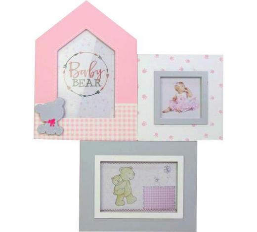 COLLAGEN-BILDERRAHMEN in Grau, Weiß, Pink - Pink/Weiß, Basics, Glas/Holzwerkstoff (29,5/36,5/1,5cm)