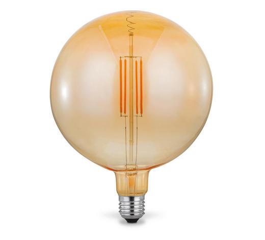 LED-Leuchtmittel E27 - Bernsteinfarben, Trend, Glas/Metall (18/23cm)
