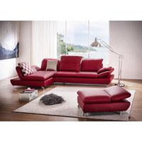 WOHNLANDSCHAFT in Leder Rot  - Silberfarben/Rot, Design, Leder (315/200cm) - Chilliano