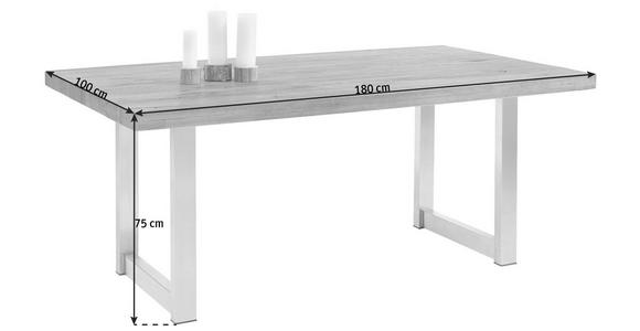 ESSTISCH in Holz, Metall 180/100/75 cm - Edelstahlfarben/Eichefarben, Design, Holz/Metall (180/100/75cm) - Valnatura