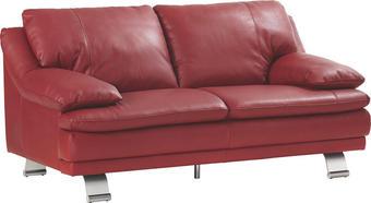 Dvosed,  rdeča usnje - aluminij/rdeča, Konvencionalno, usnje (220/179/87/94cm) - Celina Home