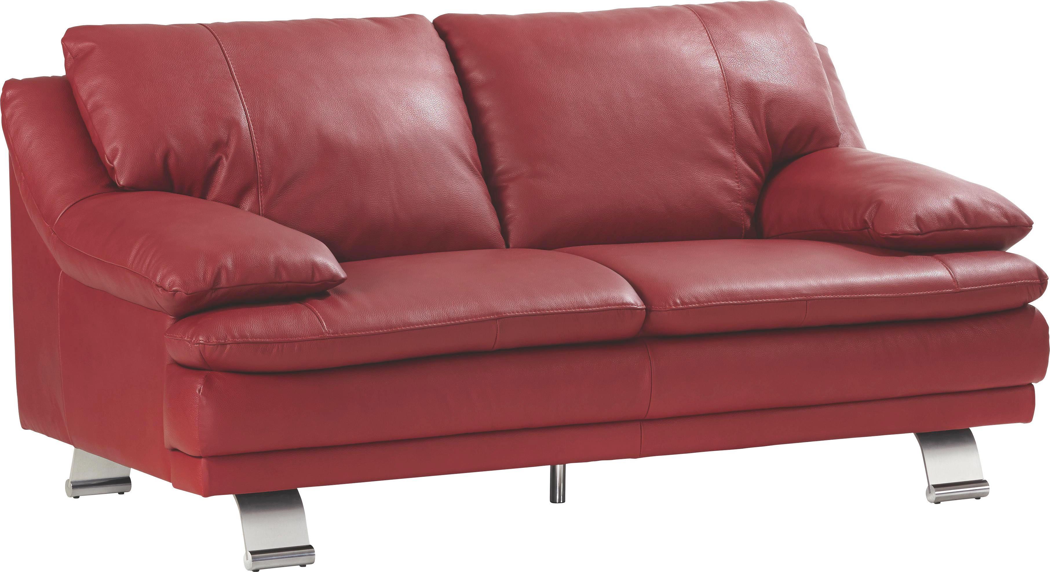 SEDEŽNA GARNITURA - rdeča/barve aluminija, Konvencionalno, kovina/usnje (220/87/94cm) - CELINA HOME