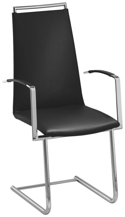 ARMLEHNSTUHL in Schwarz, Chromfarben - Chromfarben/Schwarz, Design, Leder/Metall (55/104/59cm) - Bacher