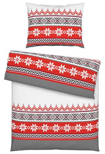 BETTWÄSCHE Flanell Grau, Rot, Weiß 135/200 cm - Rot/Weiß, LIFESTYLE, Textil (135/200cm) - Esposa