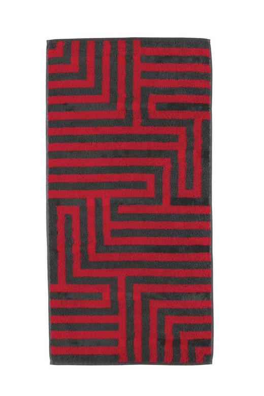 HANDTUCH 50/100 cm - Anthrazit/Rot, Basics, Textil (50/100cm) - CAWOE