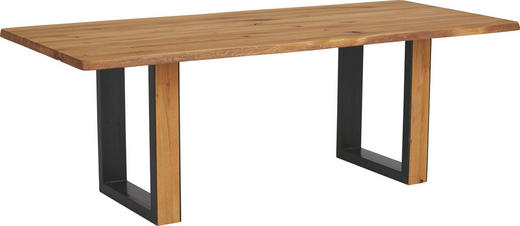 ESSTISCH in Holz, Metall 180/100/76 cm - Eichefarben/Schwarz, KONVENTIONELL, Holz/Metall (180/100/76cm)