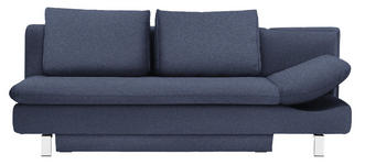 SCHLAFSOFA in Textil Blau  - Chromfarben/Blau, MODERN, Textil/Metall (214/90/93cm) - Novel