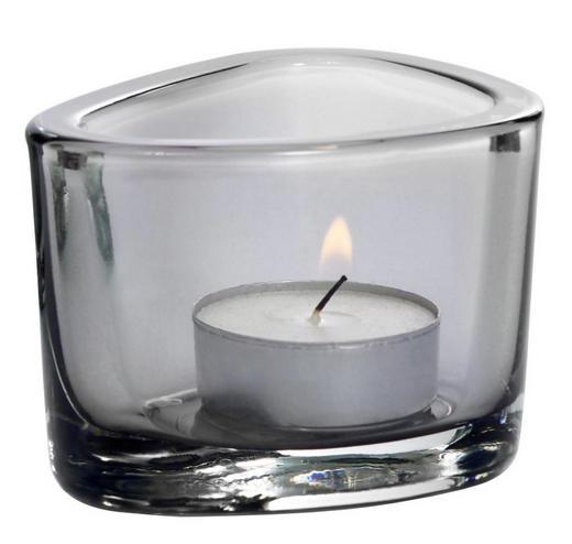 TEELICHTGLAS - Grau, KONVENTIONELL, Glas (9,00/6,00/7,00cm) - Leonardo