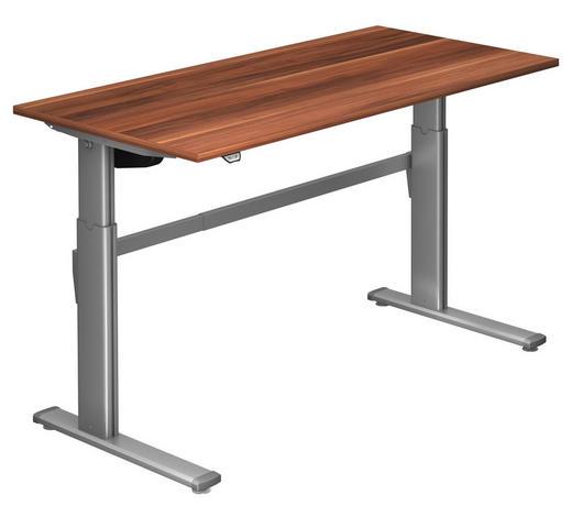 SCHREIBTISCH - Silberfarben/Zwetschgefarben, Design, Holzwerkstoff/Metall (160/72-119/80cm)