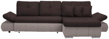 WOHNLANDSCHAFT in Textil Dunkelbraun, Hellbraun  - Hellbraun/Chromfarben, Design, Kunststoff/Textil (302/187cm) - Carryhome