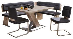 ECKBANKGRUPPE in Holzwerkstoff, Metall, Textil Dunkelgrau, Eichefarben - Dunkelgrau/Eichefarben, KONVENTIONELL, Holzwerkstoff/Textil (155/205cm) - Cantus