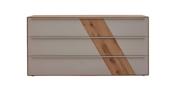 SIDEBOARD Buche massiv geölt Schlammfarben, Buchefarben  - Schlammfarben/Edelstahlfarben, Design, Glas/Holz (182/90/47cm) - Valnatura