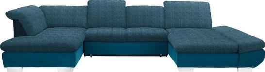 WOHNLANDSCHAFT in Petrol Textil - Chromfarben/Petrol, Design, Kunststoff/Textil (211/350/204cm) - Xora