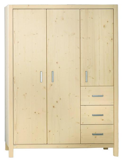 KLEIDERSCHRANK 3  -türig Fichte massiv Weiß - Silberfarben/Weiß, Design, Holz/Metall (139/189,9/55,6cm) - Paidi