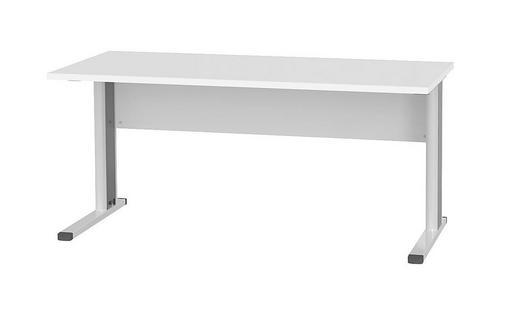 SCHREIBTISCH Edelstahlfarben, Schwarz, Weiß - Edelstahlfarben/Schwarz, Design, Metall (160/73.5/80cm) - WELNOVA