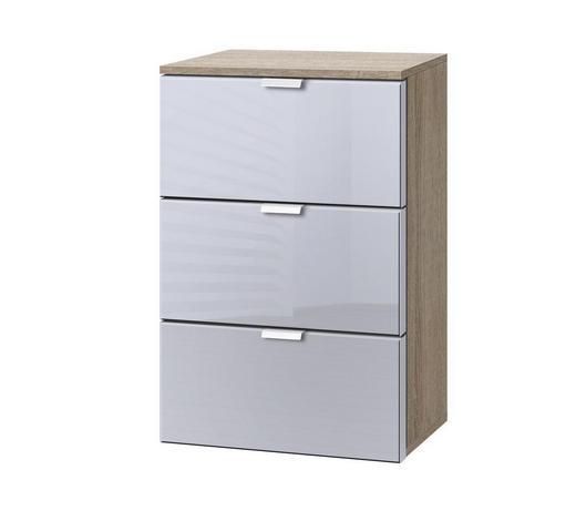 KOMMODE Hellgrau, Sonoma Eiche  - Hellgrau/Alufarben, KONVENTIONELL, Glas/Metall (40/61/42cm) - Carryhome