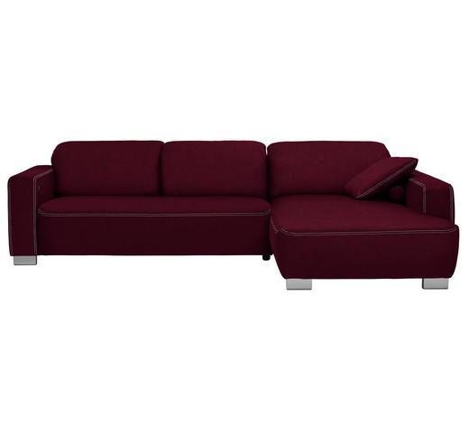 WOHNLANDSCHAFT in Textil Dunkelrot - Chromfarben/Beige, Design, Holz/Textil (296/195cm) - Hom`in