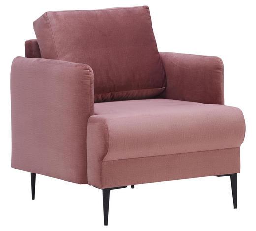 SESSEL in Textil Rosa - Schwarz/Rosa, Design, Textil/Metall (74/85/88cm) - Carryhome