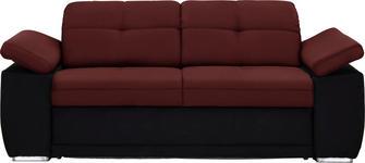 SCHLAFSOFA in Textil Rot, Schwarz - Chromfarben/Rot, KONVENTIONELL, Textil (206/82/101cm) - Venda