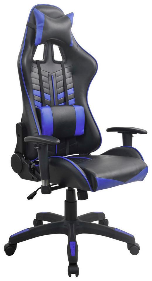 GAMINGSTUHL Blau, Schwarz Kunststoff, Textil - Blau/Schwarz, Design, Kunststoff/Textil (68,5/128-136/57cm) - Carryhome