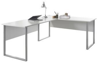 PISAĆI STOL KUTNI - svijetlo siva/boje aluminija, Design, drvni materijal/metal (223/170/77/73cm) - Xora