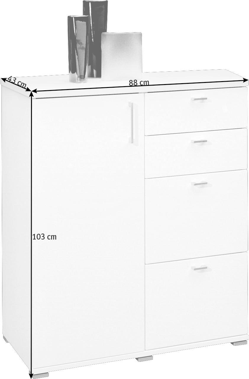 KOMMODE in Weiß - Silberfarben/Schwarz, KONVENTIONELL, Holzwerkstoff/Kunststoff (88/103/43cm)