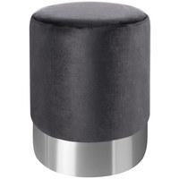 HOCKER Samt Grau, Edelstahlfarben  - Edelstahlfarben/Grau, Trend, Textil/Metall (35/42cm) - Xora