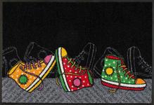 FUßMATTE 50/75 cm Graphik Multicolor, Schwarz  - Multicolor/Schwarz, Basics, Kunststoff/Textil (50/75cm) - Esposa