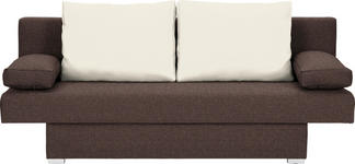 SCHLAFSOFA in Textil Naturfarben, Dunkelbraun  - Dunkelbraun/Alufarben, Basics, Kunststoff/Textil (190/74-86/80cm) - Carryhome