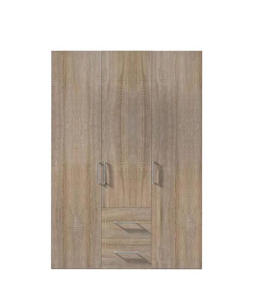 DREHTÜRENSCHRANK 3-türig Sonoma Eiche - Alufarben/Weiß, KONVENTIONELL, Holzwerkstoff/Kunststoff (150/216/58cm) - Hom`in