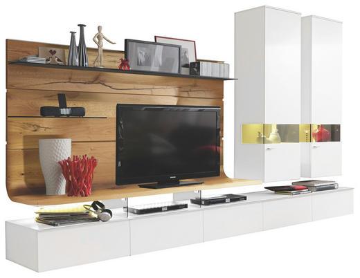 WOHNWAND Eiche furniert Eichefarben, Weiß - Edelstahlfarben/Eichefarben, Design, Glas/Holz (325/205,7/41,2-55,7cm) - Moderano