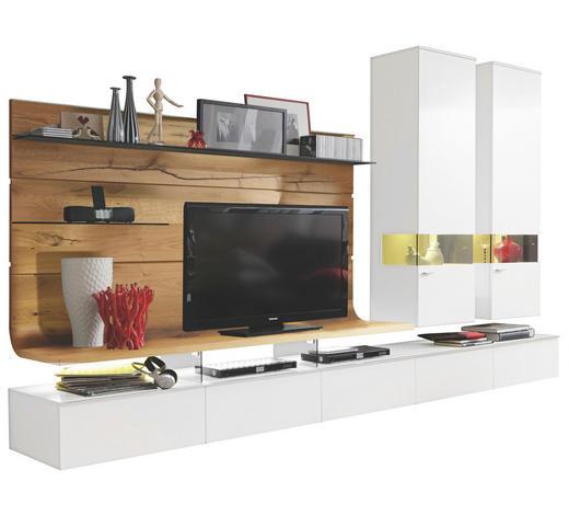 WOHNWAND in Weiß, Eichefarben - Edelstahlfarben/Eichefarben, Design, Glas/Holz (325/205,7/41,2-55,7cm) - Moderano