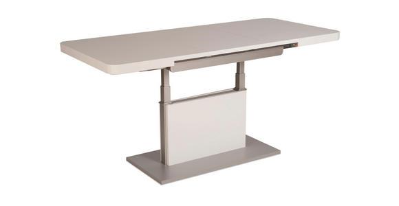 COUCHTISCH in Holzwerkstoff, Metall 110-150/68/55-74 cm - Silberfarben/Weiß, Design, Holzwerkstoff/Metall (110-150/68/55-74cm) - Venda