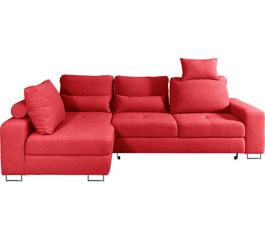 WOHNLANDSCHAFT in Textil Dunkelrot - Dunkelrot, Design, Textil/Metall (188/260cm) - Hom`in