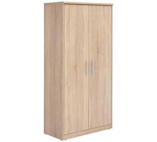 KOMODA, Sonoma dub - barvy stříbra/černá, Konvenční, kov/kompozitní dřevo (72/148/36cm) - Xora