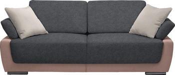 SCHLAFSOFA in Textil Dunkelgrau, Hellgrau, Rosa - Chromfarben/Dunkelgrau, Design, Holz/Textil (214/83/95cm) - Venda
