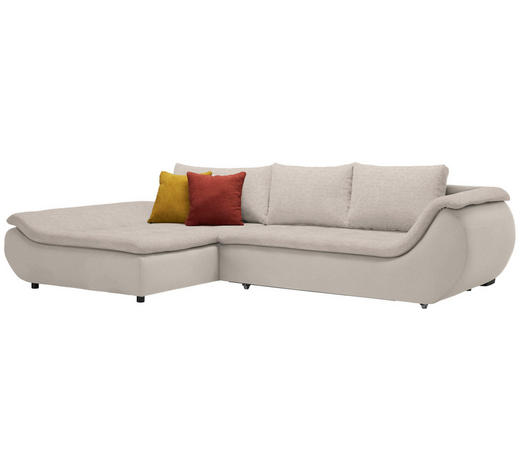 WOHNLANDSCHAFT in Textil Naturfarben, Taupe  - Taupe/Schwarz, Design, Kunststoff/Textil (185/310cm) - Carryhome