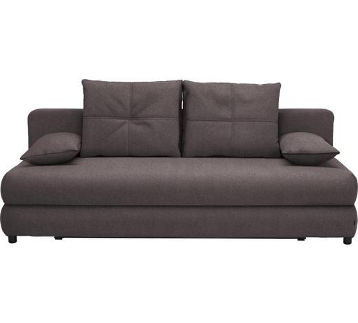 SCHLAFSOFA in Textil Dunkelgrau - Dunkelgrau/Schwarz, Design, Kunststoff/Textil (208/73-90/102cm) - Hom`in