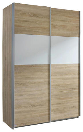 SKJUTDÖRRSGARDEROB - vit/alufärgad, Basics, metall/träbaserade material (136/210/62cm) - Carryhome