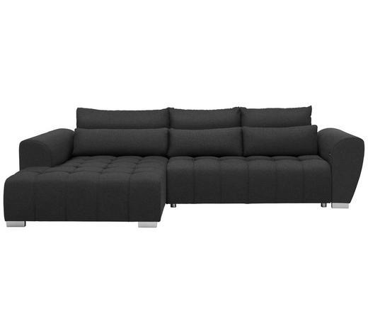WOHNLANDSCHAFT in Textil Dunkelgrau - Dunkelgrau/Silberfarben, MODERN, Kunststoff/Textil (218/304cm) - Carryhome